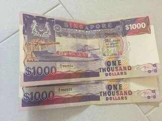 Old Notes - Singapore $1000