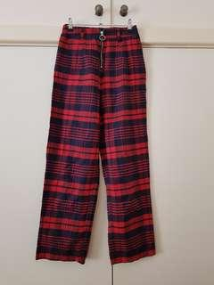 Princess Polly Red and Navy Tartan Pants Size 6/XS