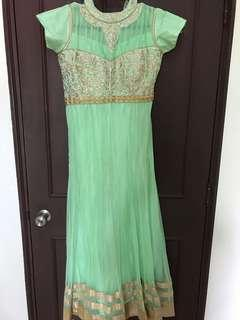 Anarkali Punjabi Suit green lace grand