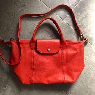 🚚 Longchamp 橘紅色羊皮包包