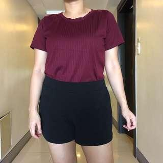 Plus size ribbed stretchy maroon shirt