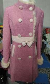 粉色毛料大衣(M)