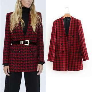 Houndstooth red plaid coat suit dress