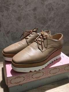 🚚 韓 方頭木跟厚底鞋