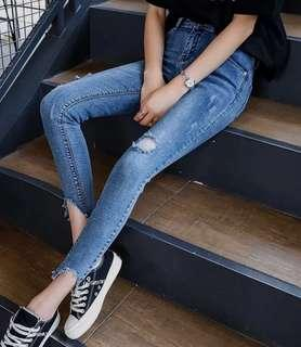 High Rise Distressed Skinny Blue Denim Jeans