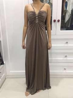 [SALE!!] Long Party Dress Metallic Brown