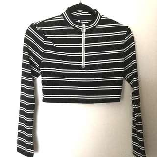 Black White Striped Crop Long Sleeve Top