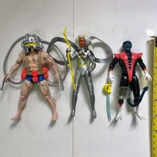 X-MEN 變種特攻 1991 至 1992年 TOYBIZ 出品 Set F 共3款 <不設散賣>  Wolverine 改造特別版盧根 Logan 狼人  Strome 暴風女神 Night Crawlwe 黑丑 Marvel Super Heroes