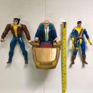 X-MEN 變種特攻 1992 至 1994年 TOYBIZ 出品 Set E 共3款 <不設散賣>  Professor Xavier X博士 Logan 盧根 Wolverine 狼人  Marvel Super Heroes