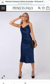 Navy Blue Midi Shift Dress