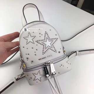 Michael Kors Rhea Zip Star Studded Mini Backpack - white