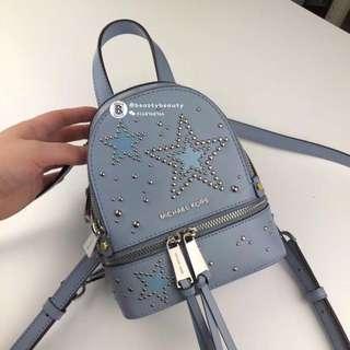 Michael Kors Rhea Zip Star Studded Mini Backpack - blue