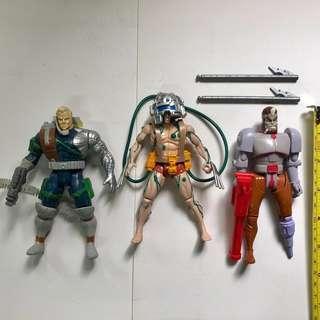 X-MEN 變種特攻 1992 至 1993年 TOYBIZ 出品 Set C 共3款 <不設散賣> Wolverine 實驗改造版狼人 盧根 Logan 機堡 Cable Marvel Super Heroes