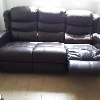 Leather sofa with Leg Rest  BROWN