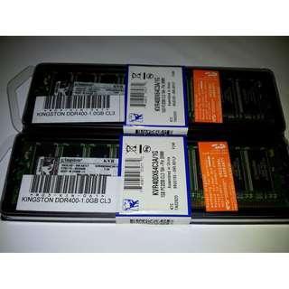 Kingston Value RAM DDR400 1GB CL3 128-Pin DIMM SDRAM KVR400X64C3A/1G for PC Desktop CPU Computer Memory
