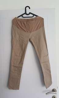 Celana hamil panjang coklat cream bahan kerja mix kaos bagian atas karet pinggang