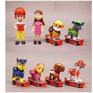 8pc Paw Patrol on Skateboard Figurine Cake Topper Toy