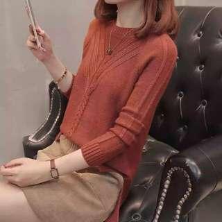 🚚 焦糖色圓領針織衫薄毛衣
