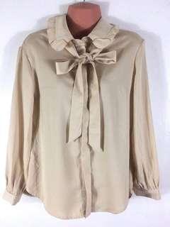 Mumu Beige Nude office formal casual bow blouse