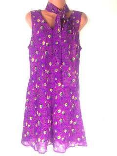 Gabrielle Purple Floral Scarf Dress