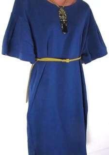 cotton pleated sleeve dress