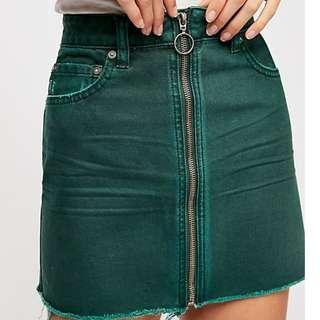 Brand new Freepeople Vintage Green Denim Skirt  全新 綠色牛仔裙 彈力 短裙 洗水