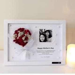 Special Gift Frame A4 for Mother's day with Dried Edelweis Hadiah Bingkai untuk Hari Ibu