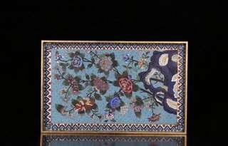 收藏精品!清 老景泰藍托盤 Cloisonné tray, Qing Dynasty