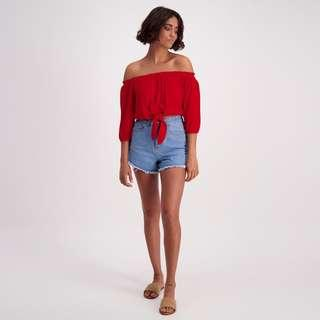 Red supreme tie top