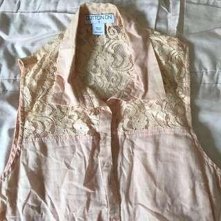 Cotton on Baby pink lace collared top