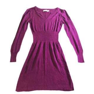 Dress 斯文 裙 冬天針織裙 Calvin Klein purple stretchy knit dress 長袖 全新🧶