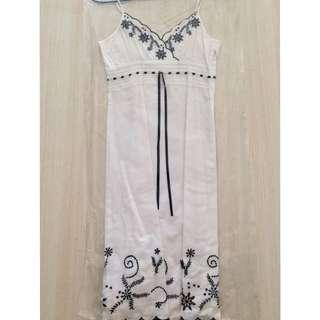 Esprit White Dress Black Border