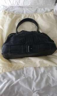 Jean Paul Gaultier black leather handbag