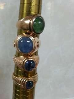 Vintage 9k Suasa gold and precious stone ring