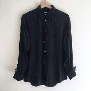 Vintage Black Silk Shirt
