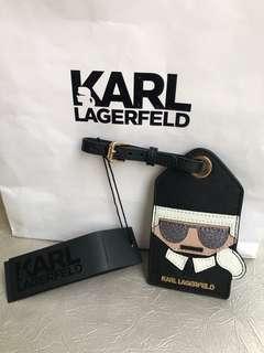 🚚 全新現貨KARL LAGERFELD卡爾拉老佛爺圖案皮革鑲嵌行李吊牌