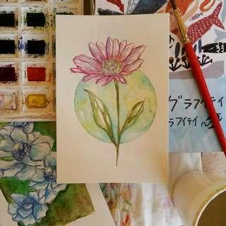 Personalized Botanical Watercolor Postcards