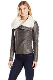 Black Leather Moto Jacket with Fur
