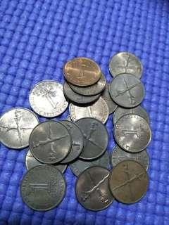 Malaysia  old 1¢ coins 20pc x 0.85