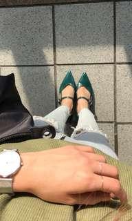 🚚 D+af超美墨綠低跟鞋