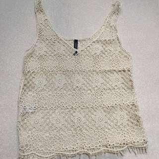 Human white Knitted Sleeveless Top/ Outerwear