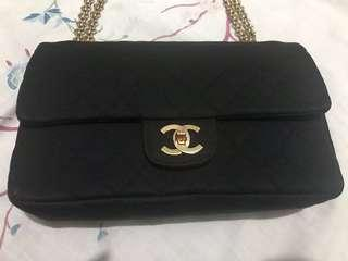 Authentic Vintage Chanel classic black jersey 2.55 bag with double flap and skinny chain strap