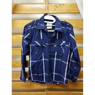 Sumabangin - Shirt Longsleeve Motif Garis Warna Navy