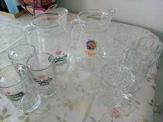 Beer jugs and glasses