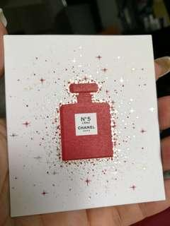 CHANEL No.5 perfume sample mini card greeting seasonal xmas Christmas gift tag card  red L'EAU PARIS shinning glitter 5 no5