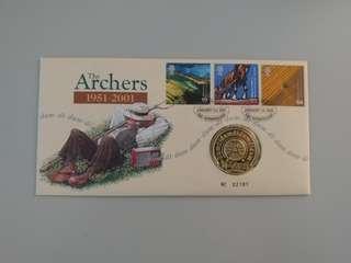 2001年 英國郵票 限量版首日封 連紀念章