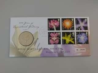 2004年 英國郵票 限量版首日封 連紀念章