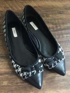 🌟85%new Zara tweed flats 千鳥格 尖頭 平底鞋