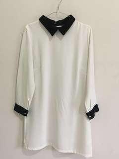 [REPRICE] Black Collared White Dress