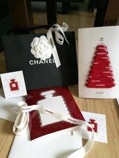 CHANEL seasonal card greeting xmas Christmas tree ribbon perfume no5 No.5 red white bottle diy handicraft